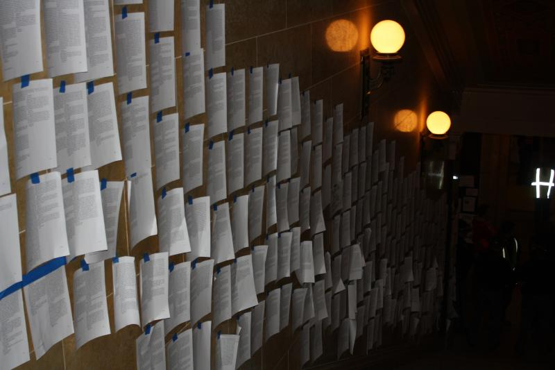 Wisconsin MoveOn members send 10,776 emails to Governor Walker and post every one on the walls of the state Capitol.