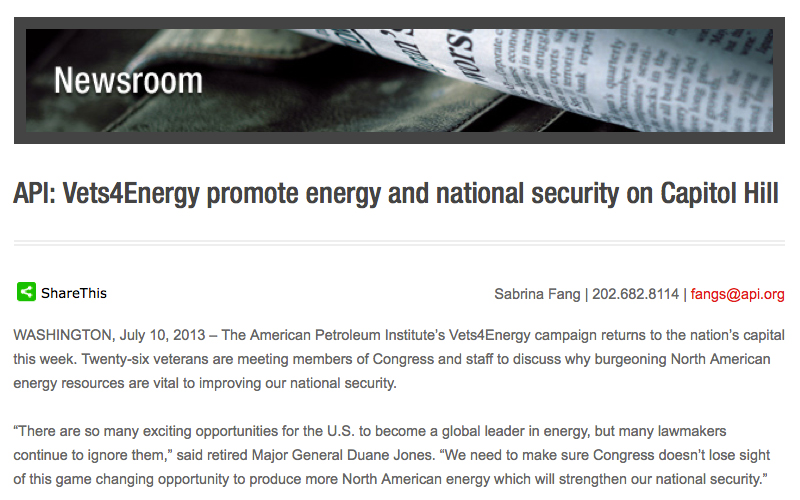 2013 news release from American Petroleum Institute (API)