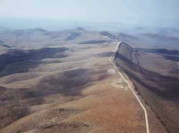 Aerial view of Yucca Mountain