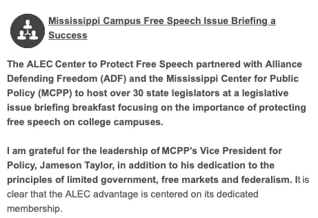 ALEC's Center to Protect Free Speech Newsletter Item (Obtained by CMD through a public records request.)