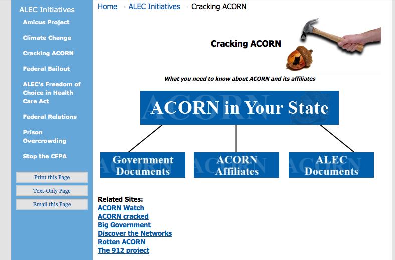 Screenshot of ALEC website