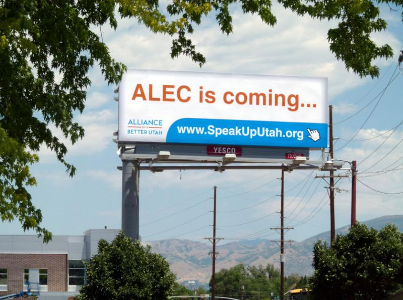 """ALEC is Coming..."" billboard featured across the state."