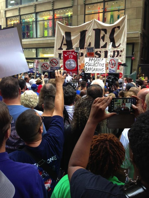 Large rally outside ALEC's annual meeting (Source: Nick Surgey)