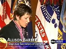 Standing in for President Bush, Allison Barber rehearses soldiers prior to their appearance on TV (Source: ABC News video)