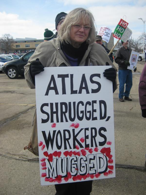Americans for Prosperity protester in Madison, WI