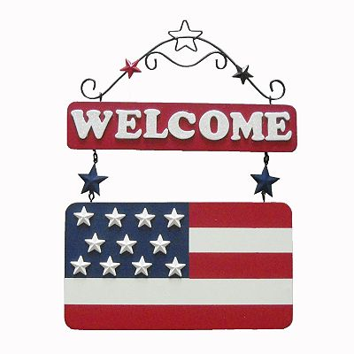 American flag welcome sign