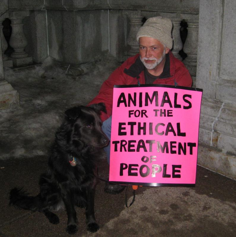 Animals for the Ethical Treatment of People protest sign