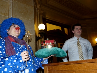 Presenting Governor Scott Walker with his crown and scepter on April Fools' Day 2011