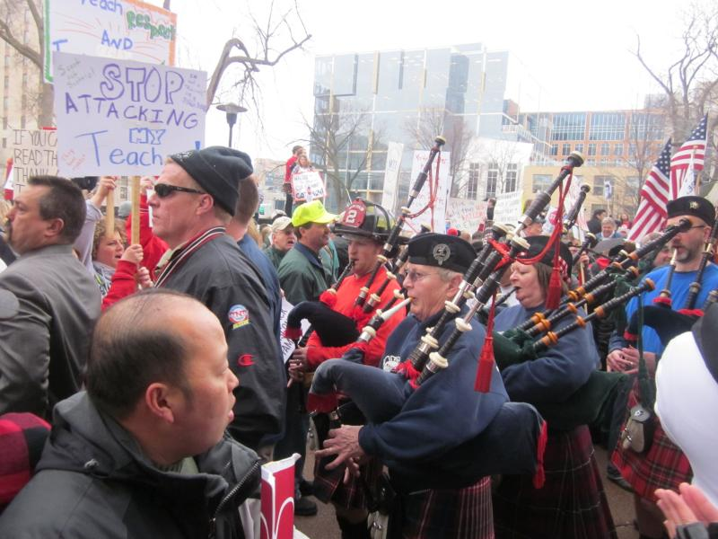 Firefighters from across the state show their colors and their bagpipes!