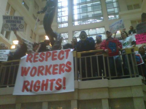 Respect Workers Rights! DC protesters cram into The Homer Building's rotunda to protest BGR Group's hosting of a fundraiser for the Republican Party of Wisconsin