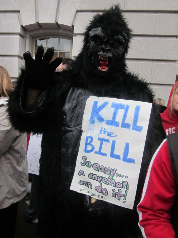 Kill the bill! So easy a caveman can do it! Or a gorilla!