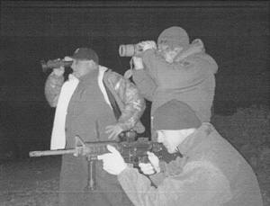 Howard Buffett and friends on night watch near the Mexican border. (Courtesy of Decatur Police Department)