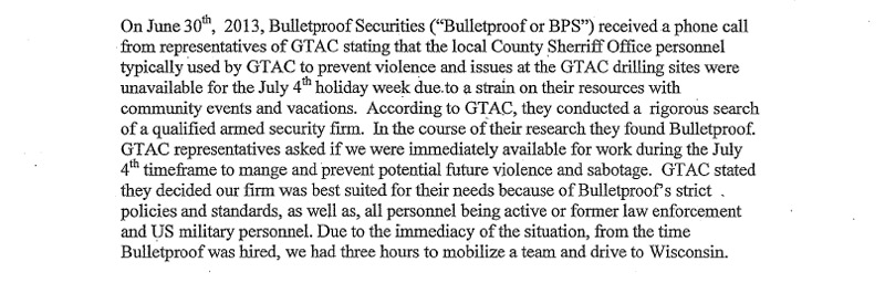 Excerpt from Bulletproof Securites letter