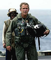 Bush in flight suit on the U.S.S. Abraham Lincoln