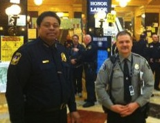 Capitol Police Chief Charles Tubbs (L) is the last man in the rotunda (Photo by Jonathan Rosenblum)