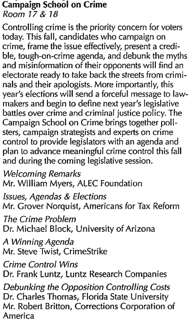 Campaign School on Crime, CrimeStrike ALEC