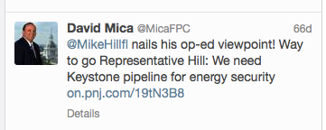 David Mica's tweet about Florida Representative Mike Hill