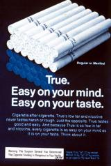 "1974 ad for ""True"" brand low-tar cigarettes"