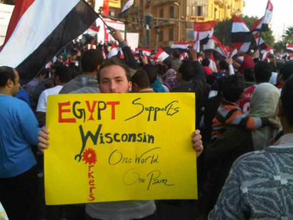 Egypt Supports Wisconsin Workers. (Photo courtesy of twitpic)