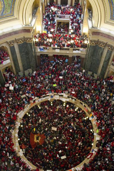 Capitol rotunda packed to capacity. Photo courtesy Milwaukee Journal Sentinel.