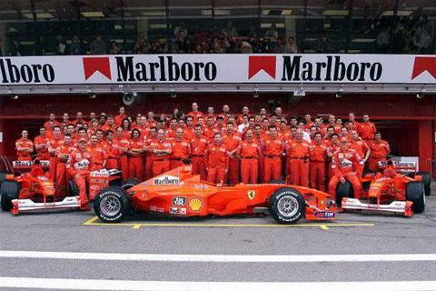 Marlboro ads at a Formula One race.