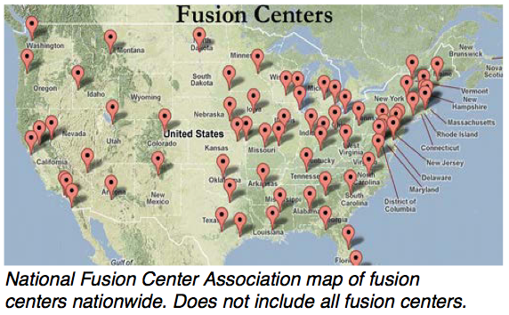 Map of fusion centers