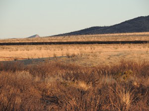 Grasslands and border wall in the area of Howard Buffett's Christiansen Ranch, spring 2016. (Beau Hodai)