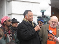 Rev. Jesse Jackson outside WI Capitol