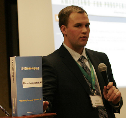John Connors of Americans for Prosperity with Home Headquarters Kit