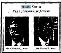 Charles and David Koch get Adam Smith Free Enterprise Award