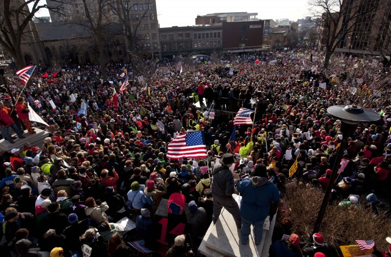 Crowd at labor protest in Madison, WI, 03-12-2011