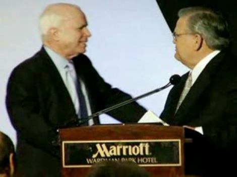 Pastor John Hagee endorses John McCain for President in March 2008.