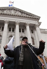 Michael Moore speaking in front of Wisconsin State Capitol