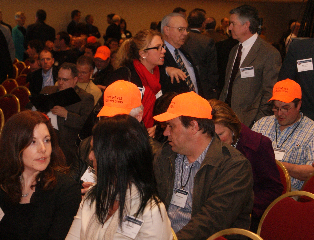 "WMC members wear hats that read ""vote yes, mining jobs"""