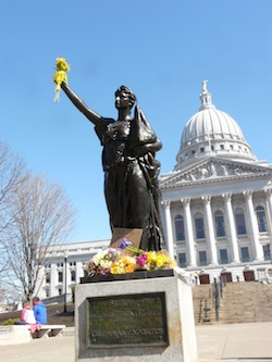 Miss Forward statue in front of Wisconsin State Capitol
