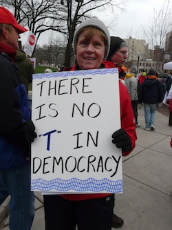 "There Is No ""T"" In Democracy"