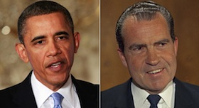 Barack Obama (L) and Richard Nixon