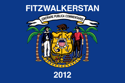 "Wisconsin flag altered to have palm trees, saw Fitzwalkerstan, and ""ignore public comment"" in latin."