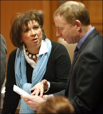 Peggy Lautenschlager, attorney for the petitioners, in a hearing at the Dane County Courthouse (Photo courtesy of AP)