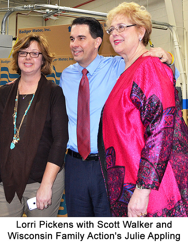 Photo of Lorri Pickens with Scott Walker and Wisconsin Family Action's Julie Appling.