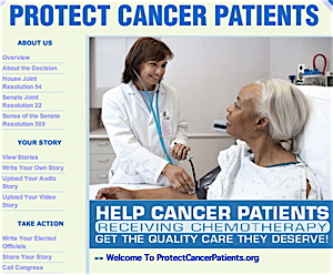 "This screenshot from the ""Protect Cancer Patients"" website shows what it looked like before ""The Cancer Letter"" exposed its solicitation and publication of patient testimonials without proper scientific evidence to support them. The company has subsequently removed the testimonials."
