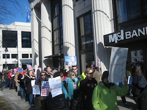 Protesters at M&I Bank, Madison, Wisconsin