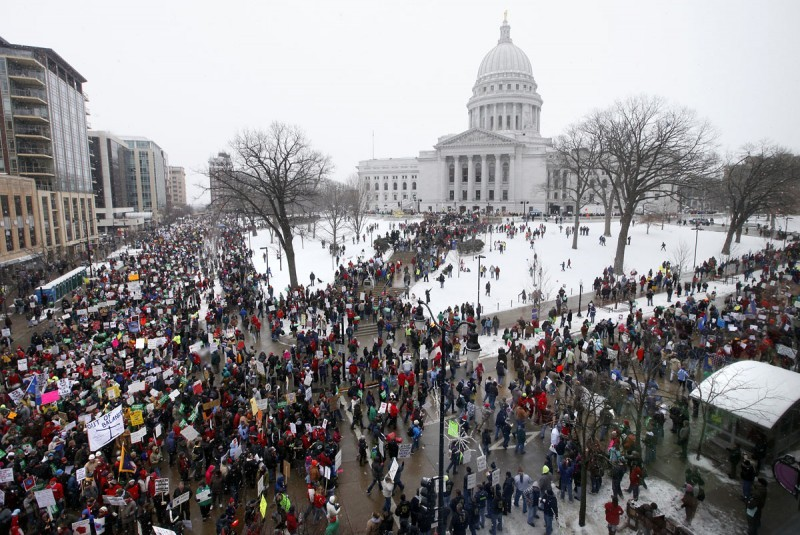 Protestors at Wisconsin State Capitol (Wisconsin State Journal)