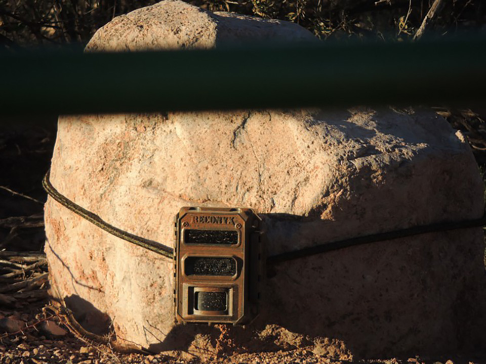 A motion-activated surveillance camera strapped to a rock near a gate in the the area of Howard Buffett's Christiansen Ranch in spring 2016. (Beau Hodai)