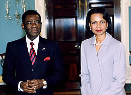 Teodoro Obiang and Condoleezza Rice