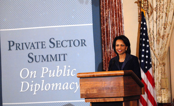 Condoleezza Rice at private sector public diplomacy summit