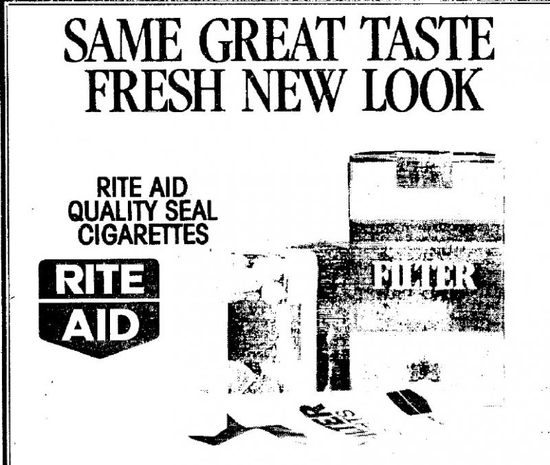Ad for Rite Aid Quality Seal Cigarettes