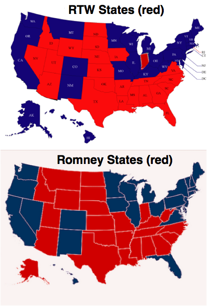 Right-to-work versus Romney states