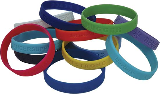 colored rubber wristbands