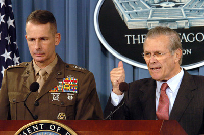 Defense Secretary Rumsfeld (right) with Gen. Peter Pace on Nov. 29, 2005. (DoD Photo by Tech. Sgt. Sean P. Houlihan)